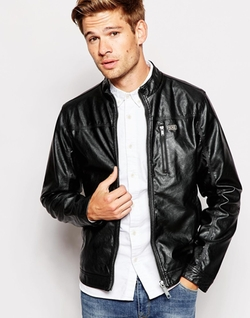 Blend - Faux Leather Biker Jacket