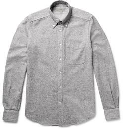 Boglioli - Slim-Fit Button-Down Collar Mélange Silk And Cotton-Blend Shirt