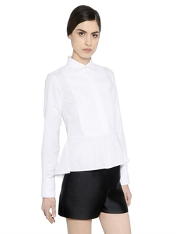 Valentino - Piqué Plastron On Cotton Poplin Shirt