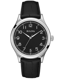 Bulova - Black Leather Strap Watch