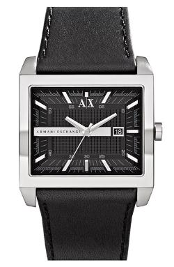 AX Armani Exchange - Rectangular Leather Strap Watch