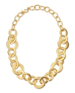 Kenneth Jay Lane - Golden Satin Link Chain Necklace