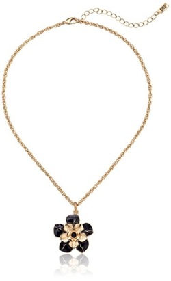 1928 Jewelry - Gold-Tone Black Enamel Flower Pendant Necklace