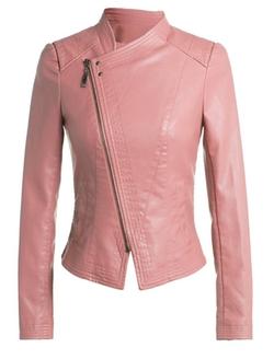 Demetory - Leather Zip-Up Moto Jacket