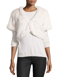 Lafayette 148 New York - Plush Faux-Fur Bolero, Cloud