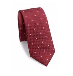 611 Saks Fifth Avenue New York  - Textured Polka-Dot Silk Tie
