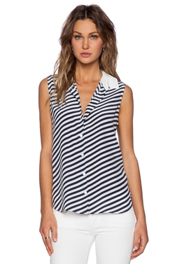 Equipment - Colleen Contrast Collar Parallel Stripe Blouse