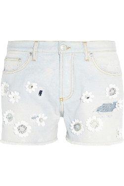 MSGM  - Floral Appliquéd Denim Shorts