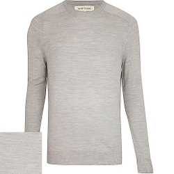 River Island - Light Grey Raglan Sleeve Sweater
