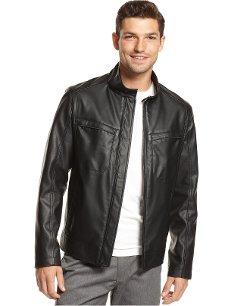 Alfani Red - Faux Leather Four-Pocket Jacket