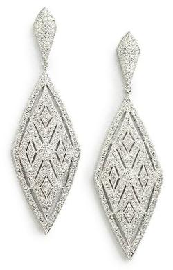 Adriana Orsini  - Crystal Encrusted Diamond Drop Earrings