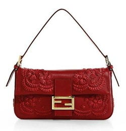 Fendi - Medium Floral-Stitched Baguette Bag