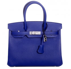Hermes  - Blue Electric Epsom Birkin Bag with Palladium Hardware