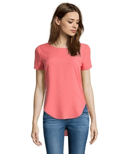 RD Style - Coral Short Sleeve Hi-Low Blouse