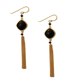 Argento Vivo  - Onyx Stone Tassel Drop Earrings
