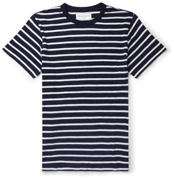 Officine Generale  - Slim-Fit Striped Knitted Cotton T-Shirt