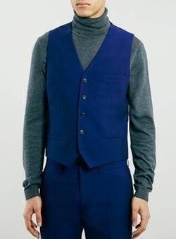 Topman - Blue Skinny Suit Vest