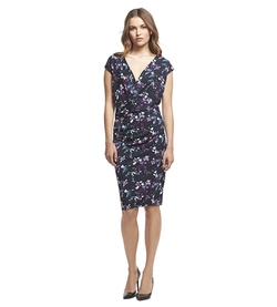 Robert Rodriguez  - Enchanting Floral Print Side Draped V-Neck Dress