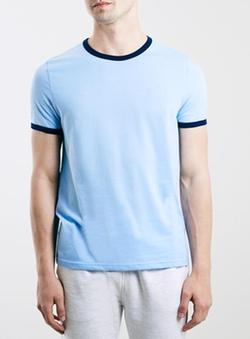 Topman - Blue Navy Slim Fit Ringer T-Shirt
