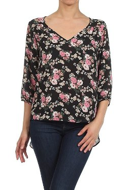 Reneec. - Floral Print V Neck Loose Blouse