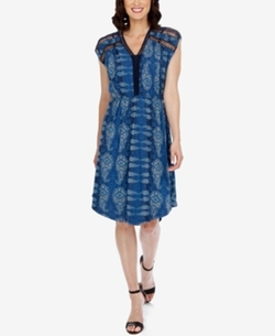 Lucky Brand - Lace Inset V-Neck Stretch Knit Dress