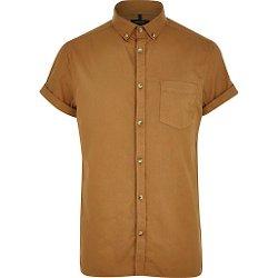 River Island - Light Brown Short Sleeve Oxford Shirt