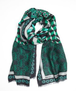 Micky London - Printed Silk Blend Vortex Scarf