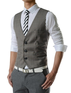 TheLees - Slim Fit Chain Point 3 Button Vest