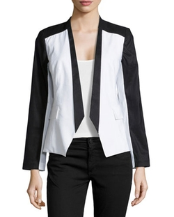 Paperwhite - Colorblock Linen-Blend Blazer