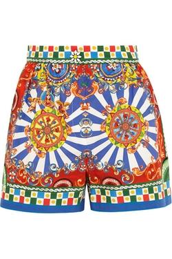 Dolce & Gabbana  - Carretto Printed Cotton Poplin Shorts