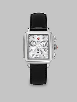 Michele Watches  - Pave Diamond & Patent Leather Chronograph Watch