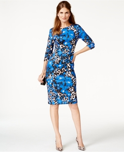 ECI - Mixed-Print Scuba Dress