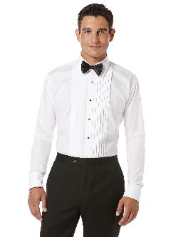 Perry Ellis - Laydown Collar Pleated Front Tuxedo Dress Shirt