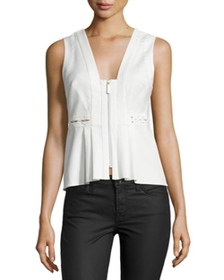 Kendall + Kylie  - Front-Zip Sleeveless Peplum Top