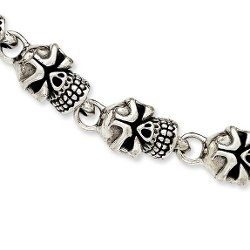 IceCarats  - Sterling Silver Antiqued Skull Bracelet