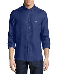 Lacoste - Solid Linen Long-Sleeve Shirt