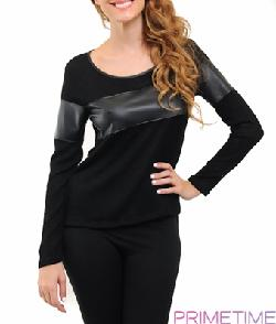 Primetime Clothing - BLACK KNIT AND FAUX LEATHER LONG SLEEVE