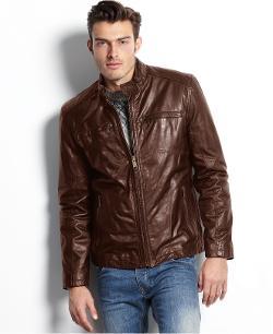 Marc New York Jacket - Vine Lightweight Calf Leather Moto Jacket