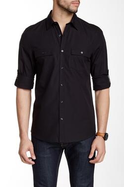 Perry Ellis  - Long Sleeve Slim Fit Pocket Shirt