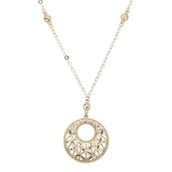Infinite Gold - Yellow Gold Filigree Circle Pendant Necklace