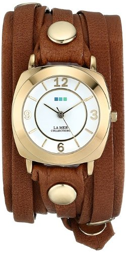 La Mer Collections  - Gold-Plated Watch with Leather Wrap-Around Band