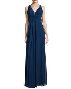 La Femme - Draped Sleeveless V-Neck Gown