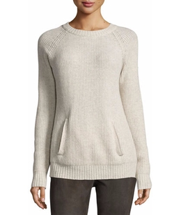 Neiman Marcus - Long-Sleeve Wool-Blend Pullover