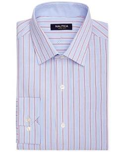 Nautica - Blue And Red Stripe Dress Shirt