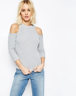 Asos Collection - Cold Shoulder Rib Sweater