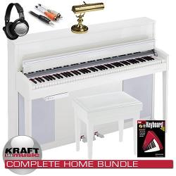 Kurzweil CUP-2 Compact Upright Digital Piano - Pearl White COMPLETE HOME BUNDLE