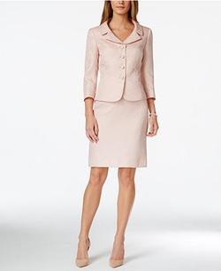 Tahari ASL - Jacquard Bead-Trim Jacket Skirt Suit