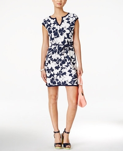 Tommy Hilfiger - Floral-Print Belted Dress