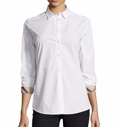 Burberry - Long-Sleeve Check-Trim Poplin Blouse