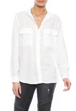 Bella Dahl - Long Sleeve Button Down Shirt In White